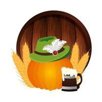 Oktoberfest hat pumpkin and beer vector design