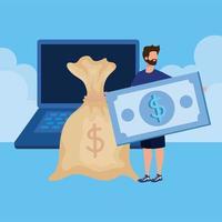joven con laptop y dinero vector