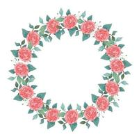 marco circular de rosas con ramas y hojas vector