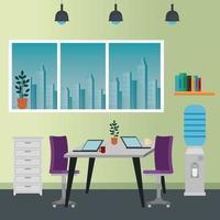 office places scenes with laptop vector