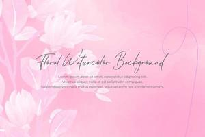 Watercolor floral background with pink concept vector