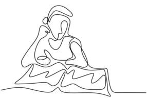 Single continuous line drawing boy focus reading book. Sitting and study with his book. Vector illustration