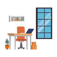 escena de lugar de trabajo de oficina con laptop vector