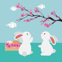 rabbits couple with chinese tree branch and flowers vector