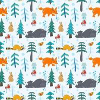 winter in the woodland Seamless Pattern for kids vector