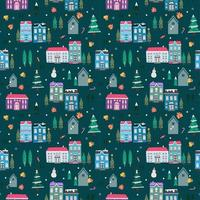 Seamless pattern with hand drawn of old house theme vector