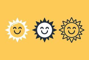 Smiling sun icon set
