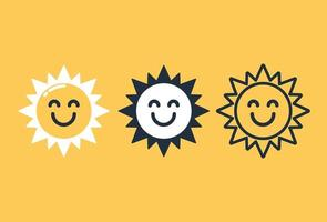 Smiling sun icon set vector