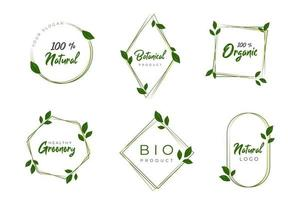 Set of floral frames with greenery concept vector