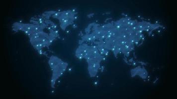 mapa mundial acenando fundo de tecnologia global video