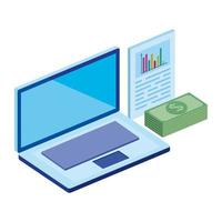 stack bills with laptop and infographic vector