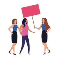 business women with protest placard isolated icon vector
