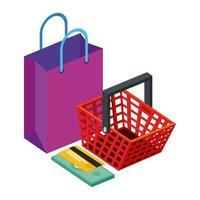 bolsa con canasta de compras y tarjeta de crédito