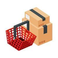 Cesta de compras con cajas icono aislado de paquetes