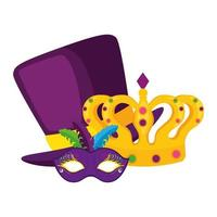 Isolated mardi gras mask hat and crown vector design