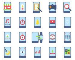 Mobile application vector icon set, flat stye