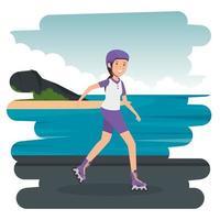 Feliz chica atlética en patines en la playa vector