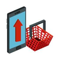 smartphone device with basket shopping isolated icon