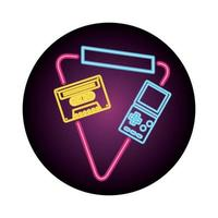 video game handle with cassette nineties style neon light
