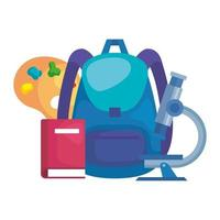 school bag with pallette and microscope