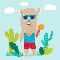 llama fresca en gafas de sol personaje de dibujos animados vector