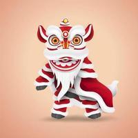 danza del león del año nuevo chino. caricatura de personaje feliz y lindo. aislado. vector