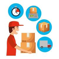 worker of delivery service lifting boxes and set icons vector