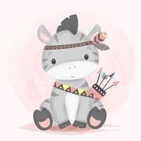 adorable ilustración de cebra tribal en estilo acuarela vector