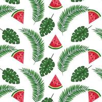 exotic leafs palms and watermelons pattern vector