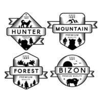 cazador y bizon, bosque y montaña set logo