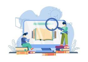 Hombre que lleva la lupa en concepto de biblioteca en línea