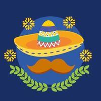 diseño de vector de sombrero y bigote mexicano