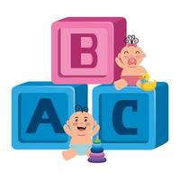 alphabet blocks toys with little babies vector