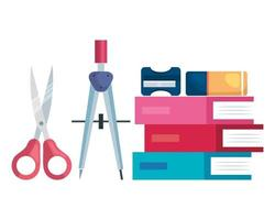 pile textbooks with scissors and supplies