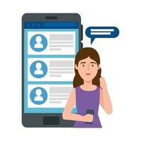 young woman and smartphone with chat vector