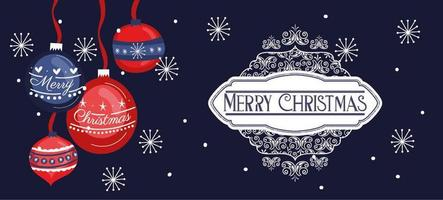 Merry Christmas banner with ornaments hanging vector