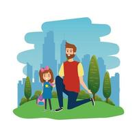 happy student girl with male teacher in the landscape vector