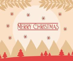 Merry Christmas card with winter landscape vector