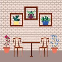 Home interior with potted plants vector