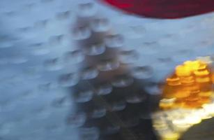 Blurry red and yellow ornaments