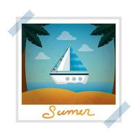 photo snapshot with summer beach and sailboat