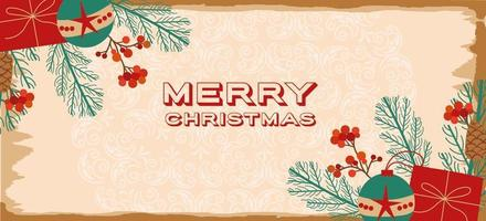 Merry Christmas vintage banner vector