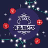 Merry Christmas card with frame vector