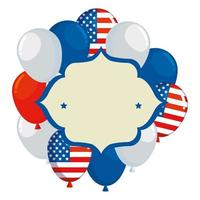 frame with balloons helium floating and usa flag