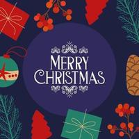 Merry Christmas card with gifts vector