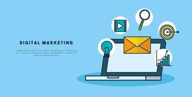 Plantilla de banner de tecnología de marketing digital con laptop vector