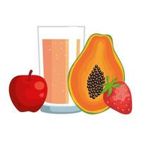 juice fruits with glass healthy food
