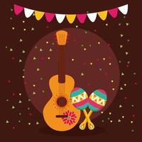 diseño vectorial de guitarra mexicana y maracas vector