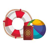 beach balloon with float and passport