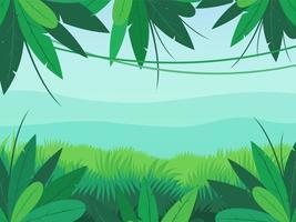 Jungle Landscape On Mountain Background vector